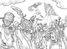 Zombie Halloween Coloring Pages For Teens Adults Monster