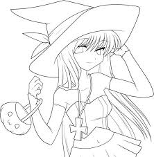 Free Coloring Pages Of Witch Girl Anime Color In