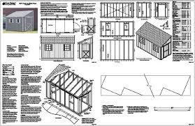 6 x 12 slant lean to style shed plans building blueprints