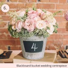 Chalkboard Bucket Rustic Wedding Centrepiece Ideas