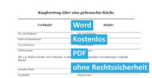 kaufvertrag küche word pdf vorlage kostenlos 1 kaufvertrag