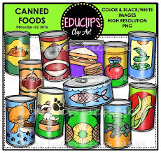 Canned Foods Clip Art Bundle Color and B&W
