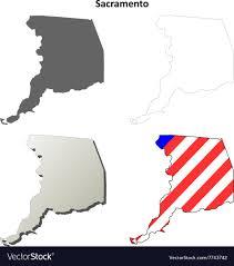 Sacramento County California Outline Map Set Vector Image
