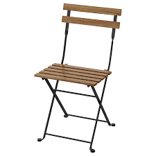 Chair, Outdoor TÄRNÖ Acacia Foldable Black, Grey-brown Stained Light Brown  Stained Steel