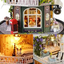 DIY Blue Time Miniature Wooden Modern Dollhouse Furniture Kit LED Christmas Gift Doll House Antique Doll House Furniture For Sale