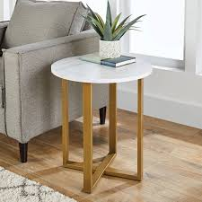 100 Living Room Table Modern Details About Side W Faux Marble Top Round Gold Steel Base Furniture