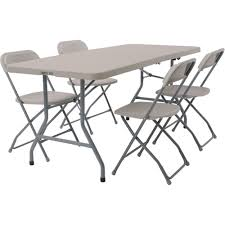 Sizable Folding Table And Chairs 5 Piece Work Smart Set ...