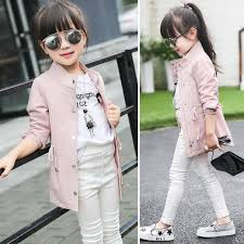 High Quality 2017 Korean Spring Fall Girls Cool Long Leisure Jacket Childrens Clothing Overcoat Kids Cardigan Trench Coat G962 In From Mother