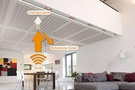 die akustikdecke verringert die nachhallzeit im raum
