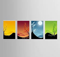 Oil Painting Decoration Abstract Hand Painted Canvas With Stretched Framed Ready To Hang Set Of