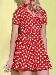 red 2xl polka dot cute short sleeve ball wrap dress rosegal com