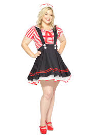 Womens Plus Size Retro Sailor Girl Costume