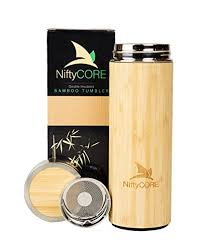NiftyCORE Bamboo Leak Proof Travel Mug With Lid And Strainer