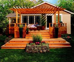 House Deck Plans Ideas by Exterior Exterior House Wood Deck Design Featuring Knotty Pine