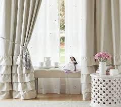 Pink Ruffle Blackout Curtains by Evelyn Linen Blend Ruffle Bottom Blackout Panel Pottery Barn Kids
