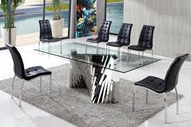 kitchen glass dining table black leather dining chairs grey wool