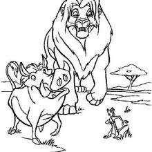 Simba With Zazu Walking Timon And Pumbaa