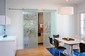 Glass Dining Room Contemporary With Frosted Doors Metal Standard Height Tables6