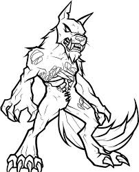 Zombie Werewolf Coloring Page