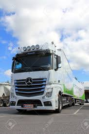 100 Mercedes Benz Truck 2013 LIETO FINLAND AUGUST 3 White Actros And