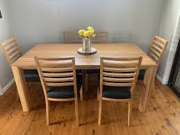 6 Piece Dinner Room Table Set Leather