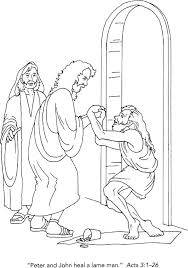 Acts The Church Met Needs Peter John Heal Crippled Man Coloring Picture