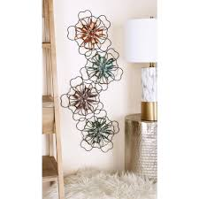 Abstract Floral Metal Wire And Ribbon Wall Decor