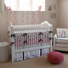 White Crib Using Coral And Turquoise Bedding Plus Armchair Windows For Nursery Decoration Ideas