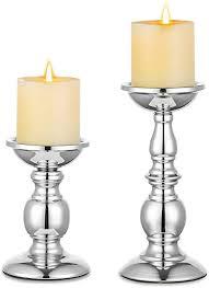 nuptio säulenkerzenhalter metallkerzenhalter ideal für 80mm kerzen silberner kerzenhalter für wohnzimmer gärten spa aromatherapie weihrauchkegel
