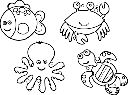 Sea Animals Coloring Pages Cartoon And Creature