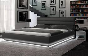 Contemporary Black Platform Bed w Lights