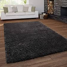 paco home teppich wohnzimmer shaggy hochflor waschbar einfarbiges design grösse 140x200 cm farbe anthrazit
