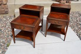 Cosco Mahogany Folding Table And Chairs by Pair Of Vintage Mahogany Leather Top Step End Tables With Drawer