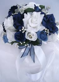 Navy Blue And Silver Wedding Flowers