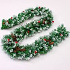 27m Christmas Garland Green With Snow Pine Cone Red Fruits Decorations For Home Ornaments Free Shipping In Pendant Drop