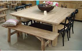Rustic Oak Square Dining Table With Bench And Chairs