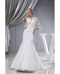3 4 lace sleeves fitted mermaid long wedding dress corset back