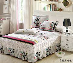 high quality cotton anime bed sheets for kids bed skirt printed