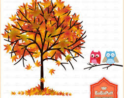 Fall tree clipart with pink leaves