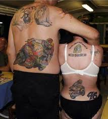Bike Racers Sports Tattoo On Couple Back