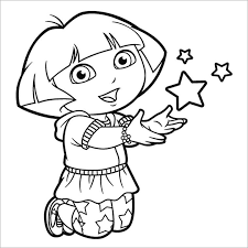 Dora Coloring Pages With Stars