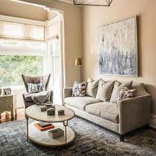 taupe sofa with blue pillows design ideas