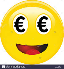 Euro Smiley Emoticon Yellow Laughing 3d Emoji With Black Eur Symbols In Place Of Eyes