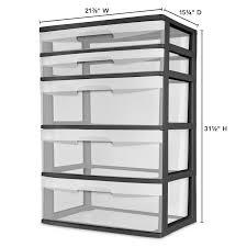 Sterilite 2 Shelf Storage Cabinet 2 Pack by 5 Drawer Wide Tower Storage Sterilite 2x Organizer Cabinet Heavy