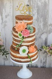 Rustic Glam Wedding Naked Cake Fondant Flowers Succulents Gold Love Peach Mint
