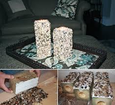 basteln mit naturmaterialien diy kerzenhalter aus holz und kies
