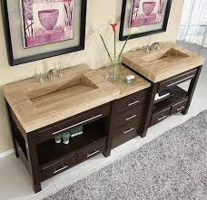 Double Sink Vanity With Dressing Table by 92 Inch Double Sink Cabinet With Espresso Finish And Travertine