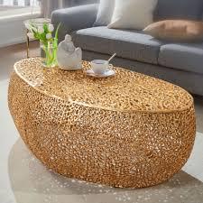 wohnling couchtisch 110x45x60 cm aluminium gold design loungetisch oval sofatisch ast struktur metall wohnzimmertisch modern stubentisch groß