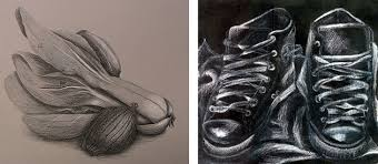 White Charcoal Drawing On Black Paper