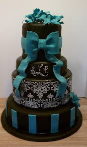 cakebuds Black white and teal wedding cake